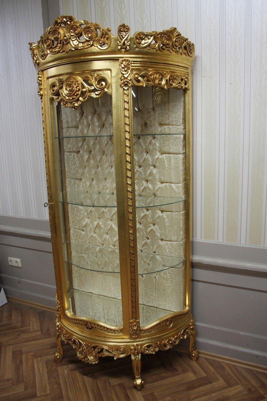 Barock Vitrine Rokoko Antik Stil Schrank Louis XV MKVi0111 gold