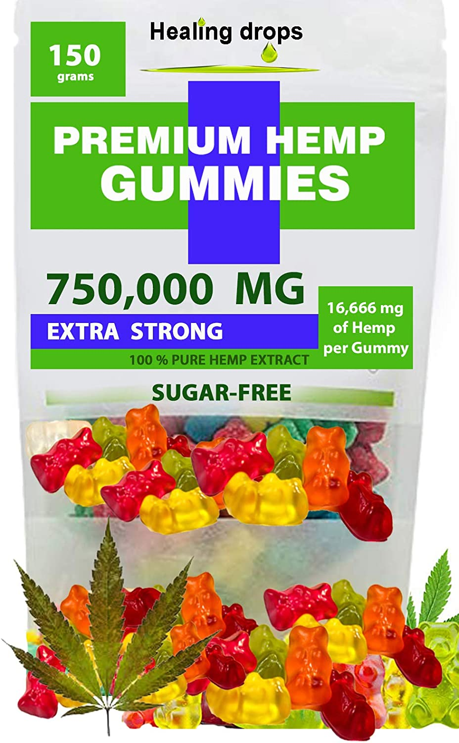 Premium Organic Sugar-Free Gummies Natural Health Support 750,000MG High Potency Relaxing, Stress & Anxiety Relief Rich in Vitamins B E C D Omega 3 6 9 Super Friendly Gummy Bears