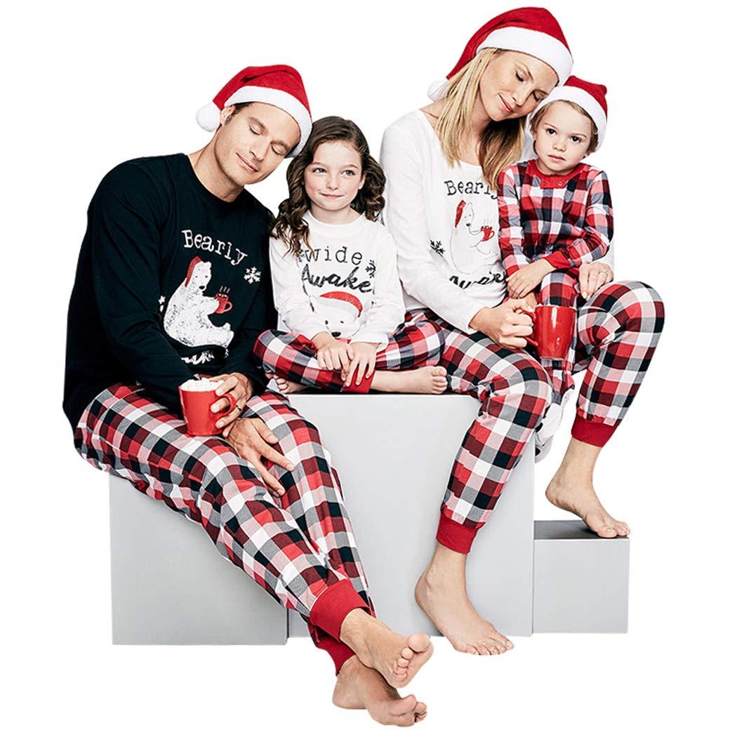 86e06b3bed4d Matching Christmas Pajamas for Family Polar Bear Plaid Sleepwear ...