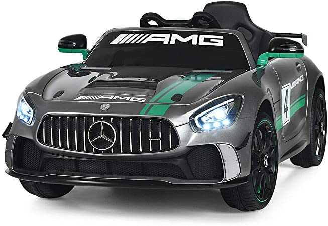 Costzon Ride On Car, 12V Licensed Mercedes Benz AMG Electric Vehicle w/ 2.4G Remote Control, Opening Doors, Head/Rear Lights, Swing Function, MP3 USB TF Input, Horn, High/ Low Speed for Kids (Silver)