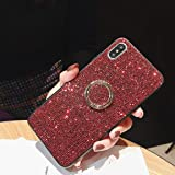 Amocase Full Diamond Case with 2 in 1 Stylus for iPhone XS Max 6.5 inch,Luxurious 3D Red Square Bling Glitter Soft Rubber Bumper Crystal Hard Case with 360 Ring Holder