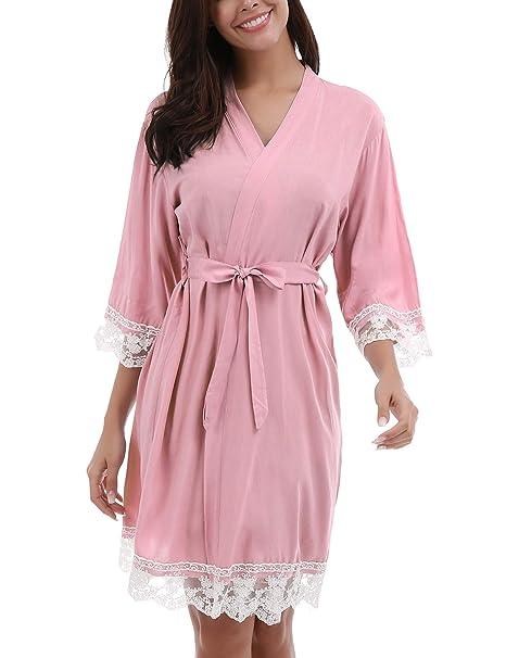 Unbranded Mujer Batas Kimono Algodón Camisón Encaje Pijama Túnica Ropa de Dormir: Amazon.es: Ropa y accesorios