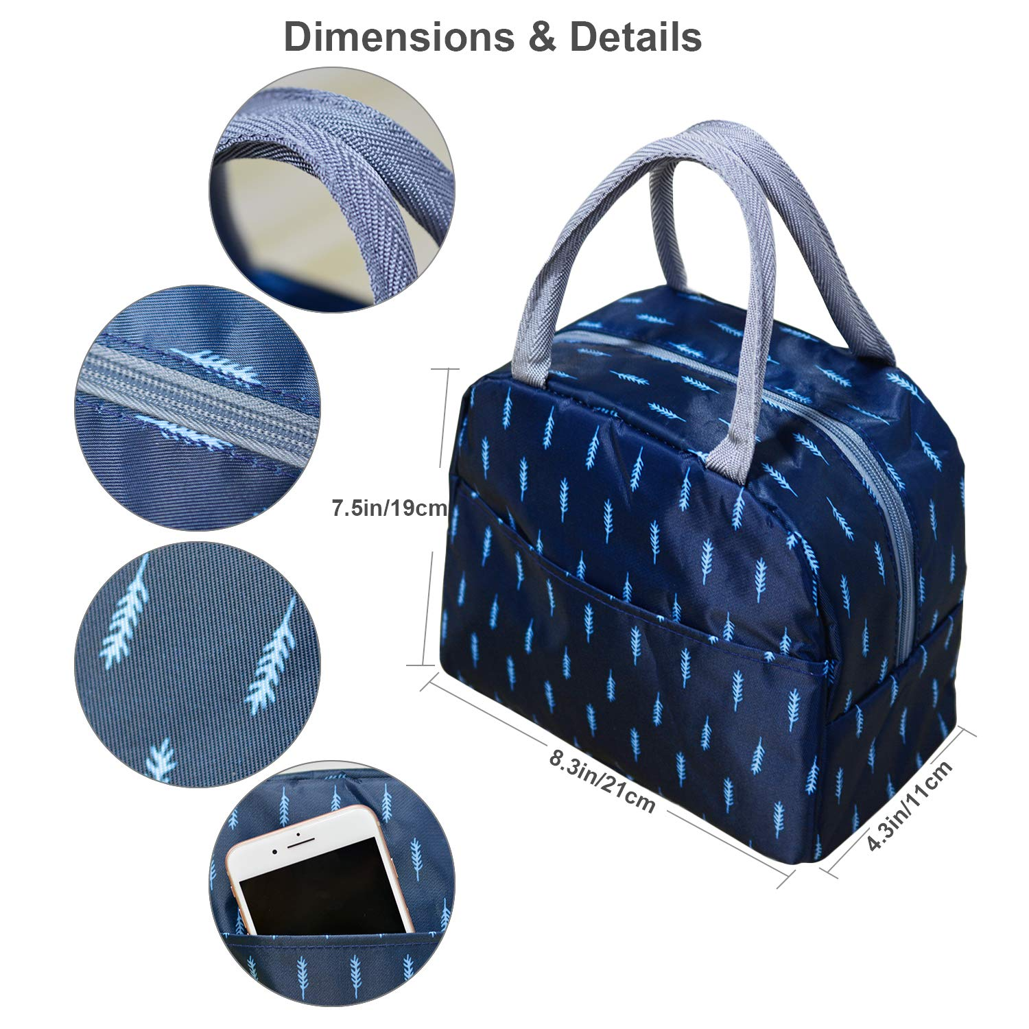 Purple Sheep Wide Open/Insulated Lunch Bag for Kids Woman Man Lunch Box Cooler Tote Box with Front Pocket for Work School Picnic or Travel CHARMDI Lunch Bag