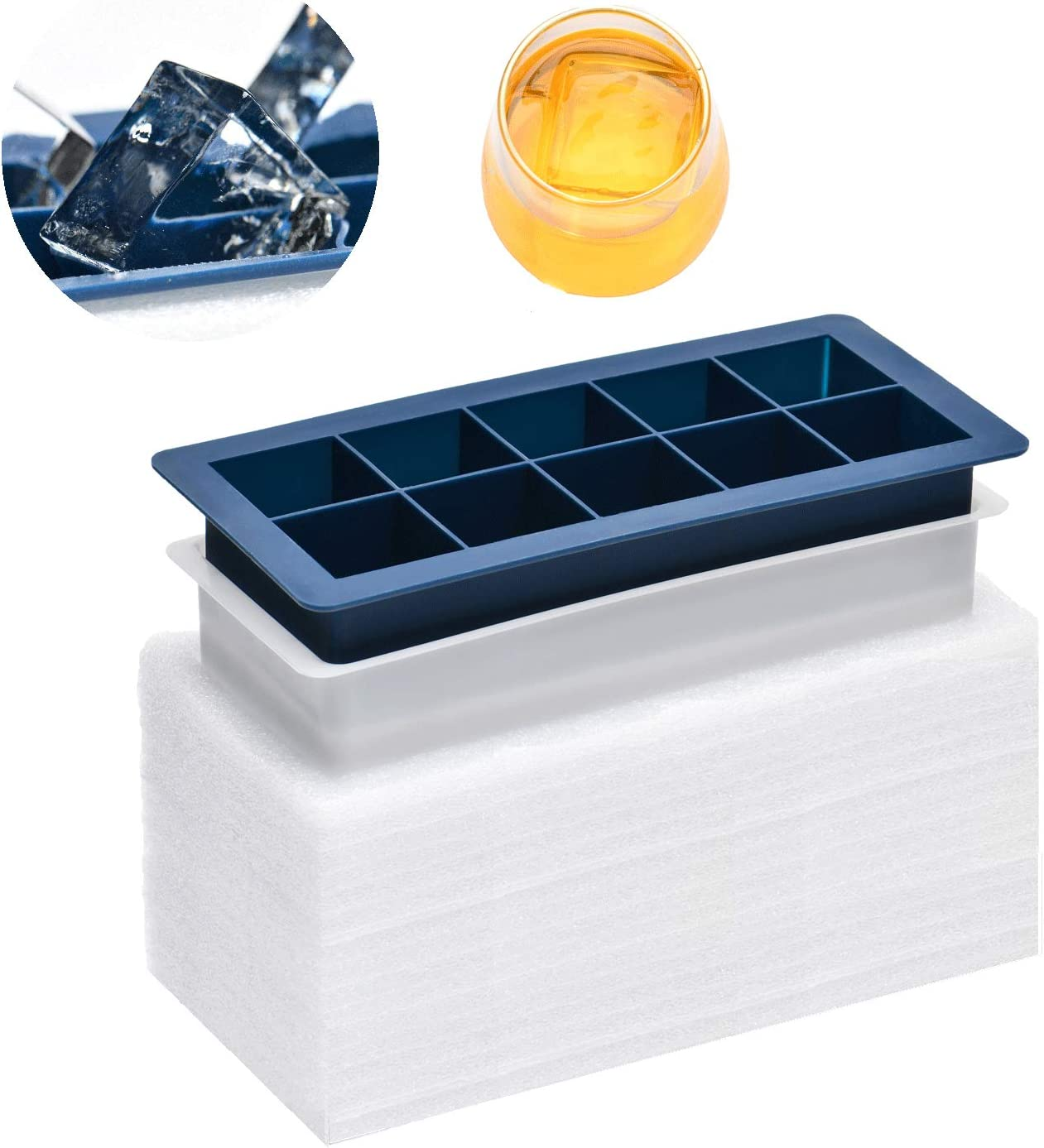 Silicone Clear Ice Cube Tray - Crystal Clear 2 Inch Ice Cube Maker,10 Large Ice Cubes Mold for Whiskey and Cocktail