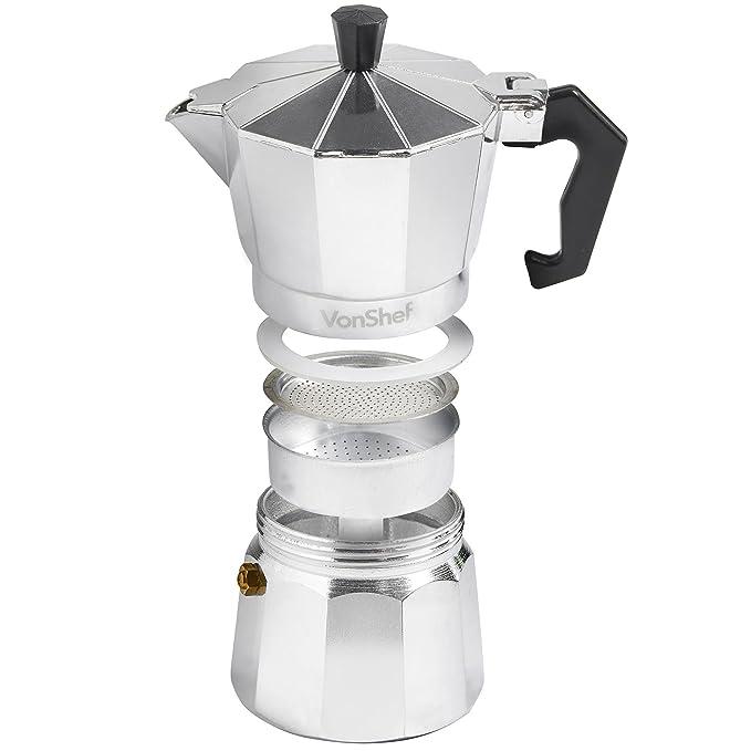 VonShef- Cafetera italiana espresso para hornillo de 3 tazas ...
