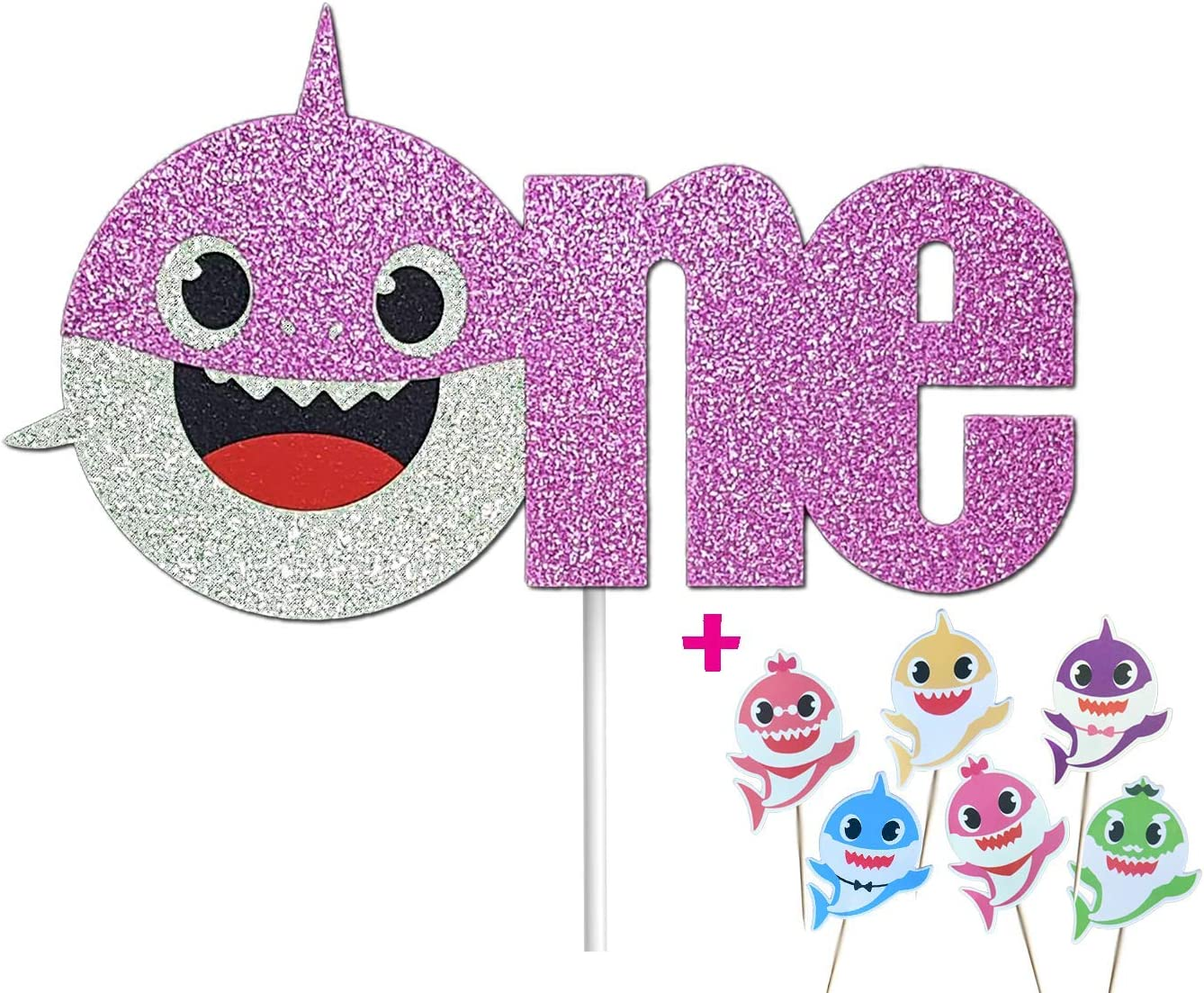 "OMG Party Factory - Baby Cute Shark Cake Topper 1st Birthday ""ONE"" For Girl - Baby Shower Decoration With Cupcake Toppers (Pink)"