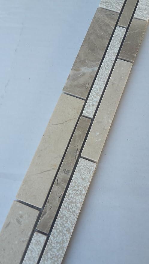 Bruchstein Mosaik Bord/üre 5,4x30 cm Naturstein Fliesen Emperador Crema Marfil B610