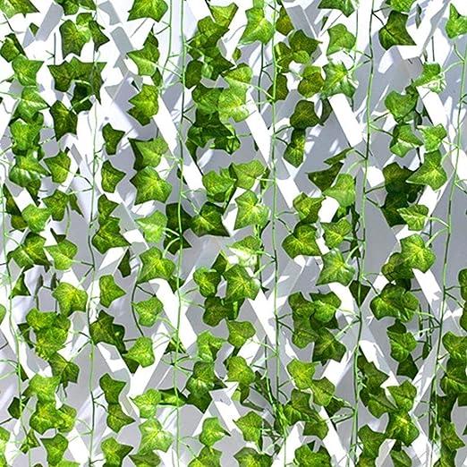Kdrirad Plantas Artificiales Exterior Interior Hojas Artificiales De Enredaderas 25 Metros Decoración para Jardin Vertical Pared Cesped Guirnaldas Cortinas Boda Escalera Puerta: Amazon.es: Hogar