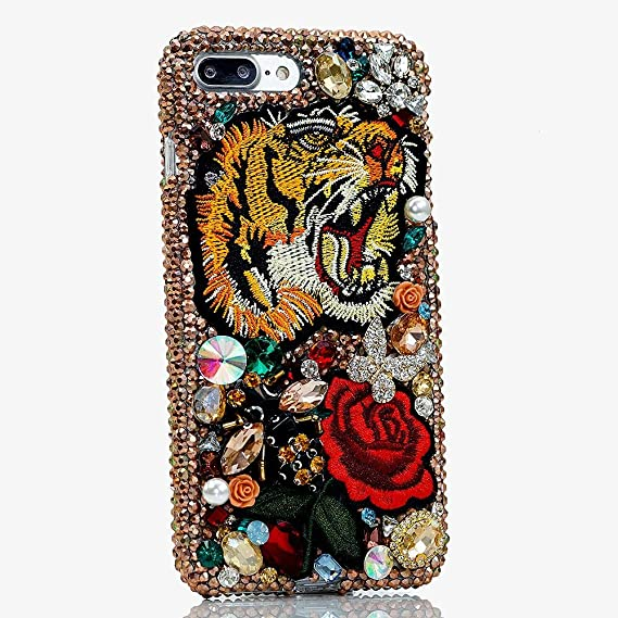 4490f899 iPhone X/XS Case, Bling Genuine Copper Crystals Tiger and Roses Diamond  Stones Sparkle Glitter Easy Grip Protective Case Cover [by Luxaddiction]
