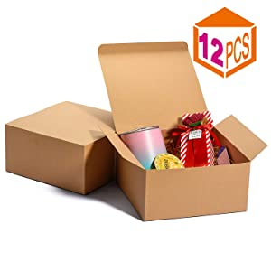 MESHA Kraft Boxes 8x8x4 Inch Bridesmaid Proposal Boxes Brown Gift Boxes Bulk,Brown Paper Gift Boxes with Lids for Gifts, Crafting, Cupcake Boxes,Boxes for Wrapping Gifts(Brown-12Pack)