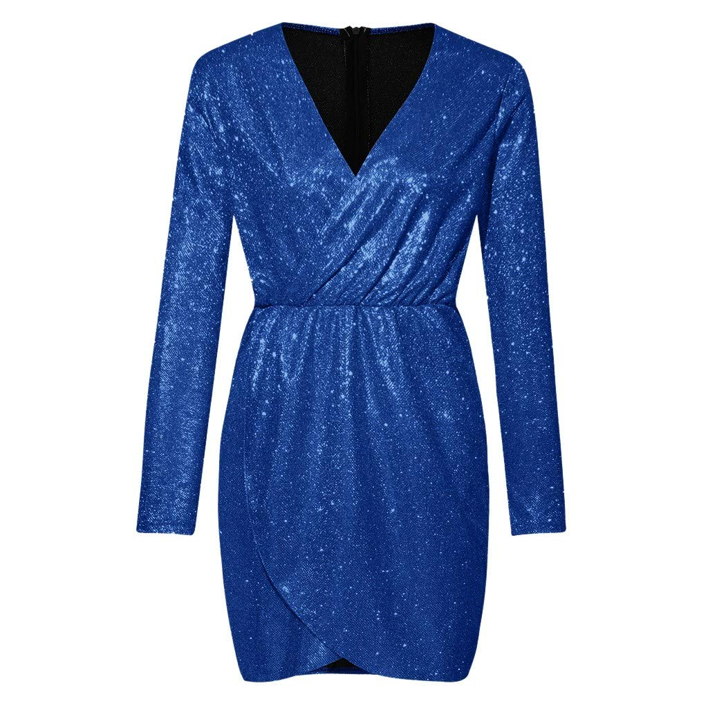 HDGTSA Women Deep V Neck Nightclub Dress Wrap Ruched Long Sleeve Party Dress Mini Dresses