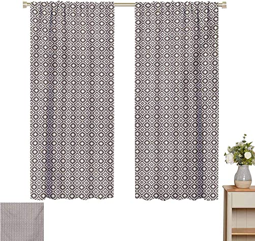 Petpany Blackout Curtains Vintage,Ornamental Motifs with Floral Inspirations Abstract Oriental Geometric Pattern,Taupe and White,All Season Thermal Insulated Solid Room Drapes 120 W x 96 L