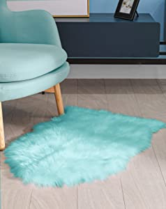 BAYKA Faux Sheepskin Fur Area Rug, Luxury Area Rug, Soft Furry Carpet Rug for Bedroom, Children's Room, Decor Rug 2x3 Feet, Light Blue