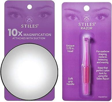 Stiles - Espejo de aumento de 10 aumentos + cuchilla estrecha mini ...