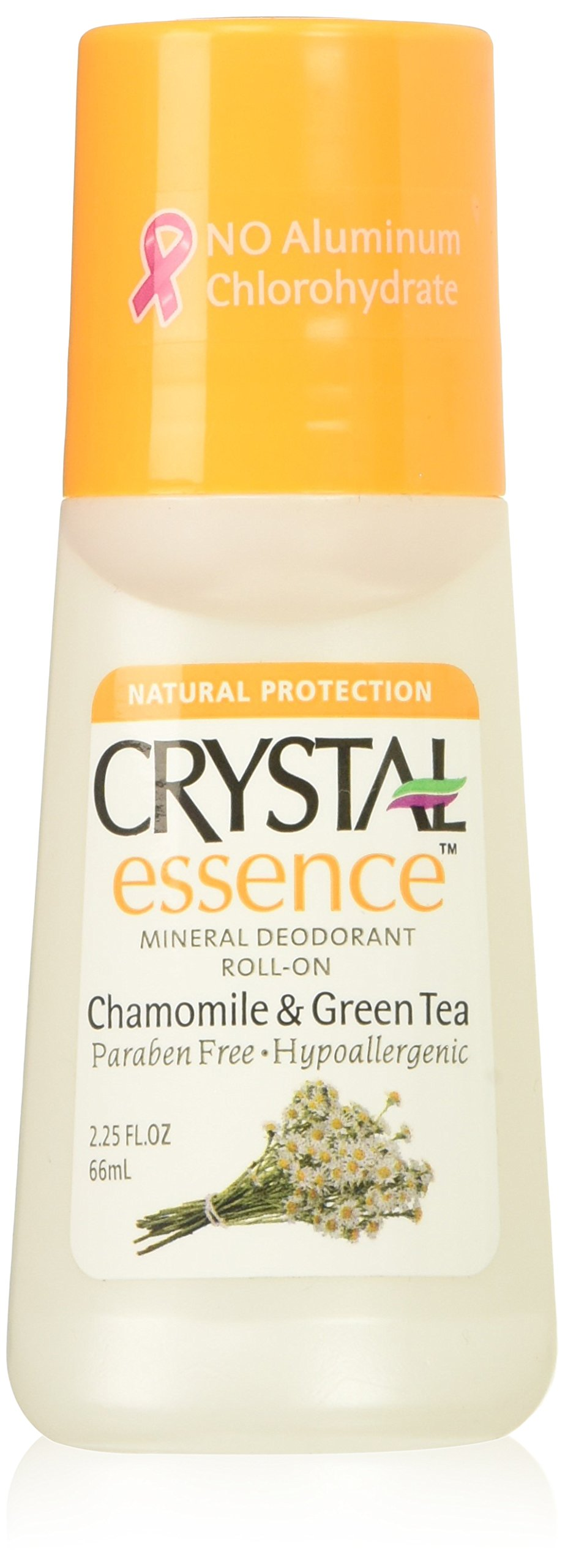 Crystal Deodorant Essence Roll-On 2.25oz Chamomile/Green Tea (3 Pack)