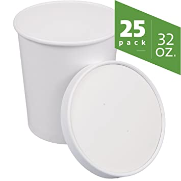 da364edc118 COMFY PACKAGE Double-Wall Poly White Paper Soup Containers or Hot ...