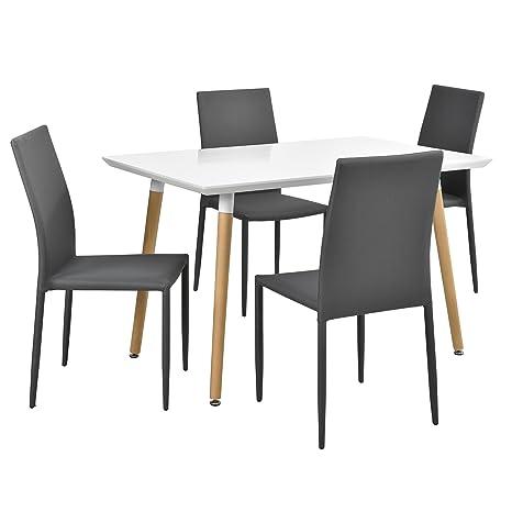 en.casa] Tavolo Moderno/da Pranzo/Cucina Bianco Opaco (120x70cm) con ...