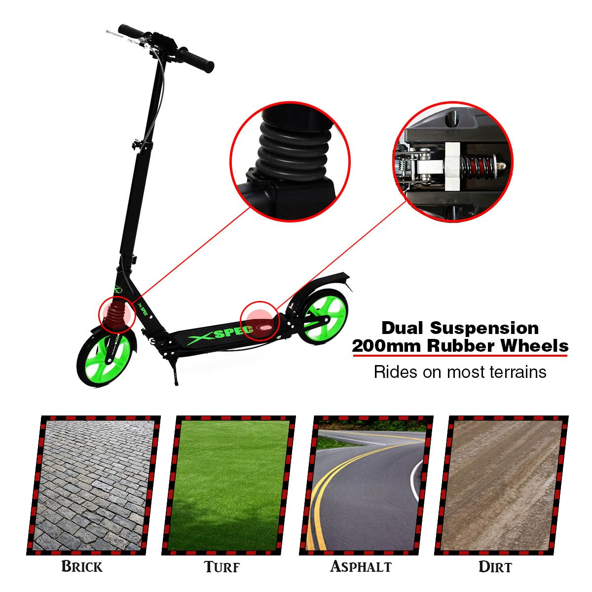 Xspec Folding Adult Kick Street Scooter with Dual Suspension, Dual Rear Wheel Braking System & Kick Stand, Supports 220 lbs, City Urban Commuter, Aluminum Frame Matte Black and Green, Carrying Strap