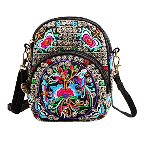 7a01f9baaae4 LABANCA Vintage Embroidery Small Crossbody Shoulder Bag Phone Coin Wallet Purse  Sling Bag
