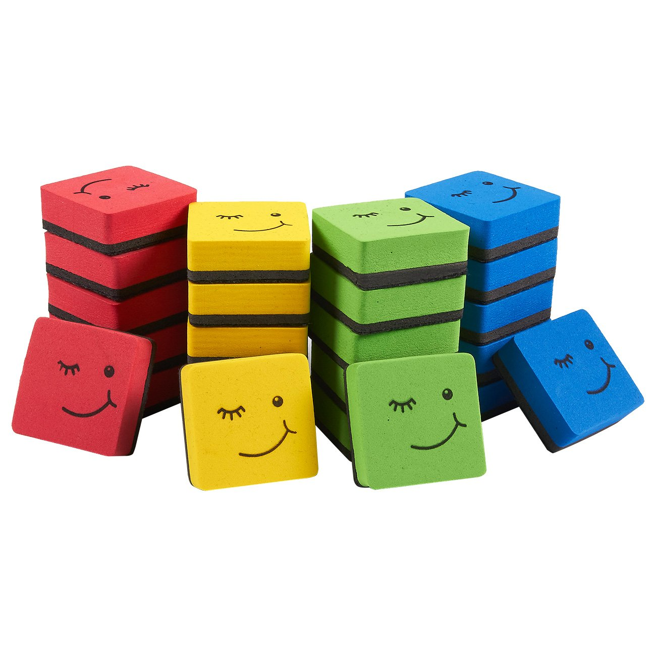 24-Pack Magnetic Whiteboard Eraser – Magnetic Dry Erasers Bulk for Dry Erase Pens and Markers, Winking Face Design, Ideal for Kids, Home, School, and Office, 4 Colors, 1.9 x 0.7 x 1.9 Inches Juvale 4336950579