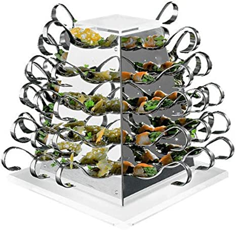 Amazon Com Aps Paderno World Cuisine Battery Operated Stainless Steel Rotating Buffet Serving Pyramid Completer Serveware Sets Kitchen Dining