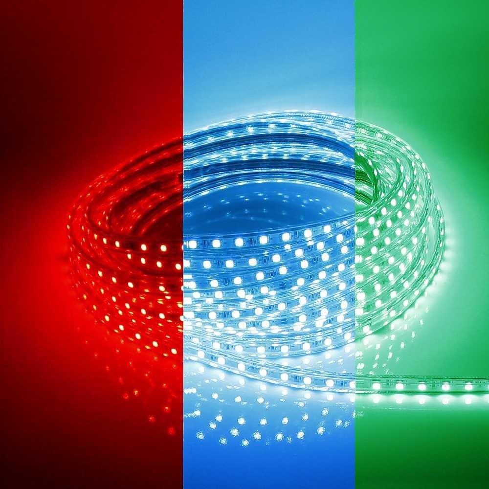 230V LED Streifen RGB Band Leiste Krzbar Jeden Ganzen Meter IP44 Stripe Dimmbar Steuerbares Licht Bunt Multicolore Lampe 1 Strip Beleuchtung Fr