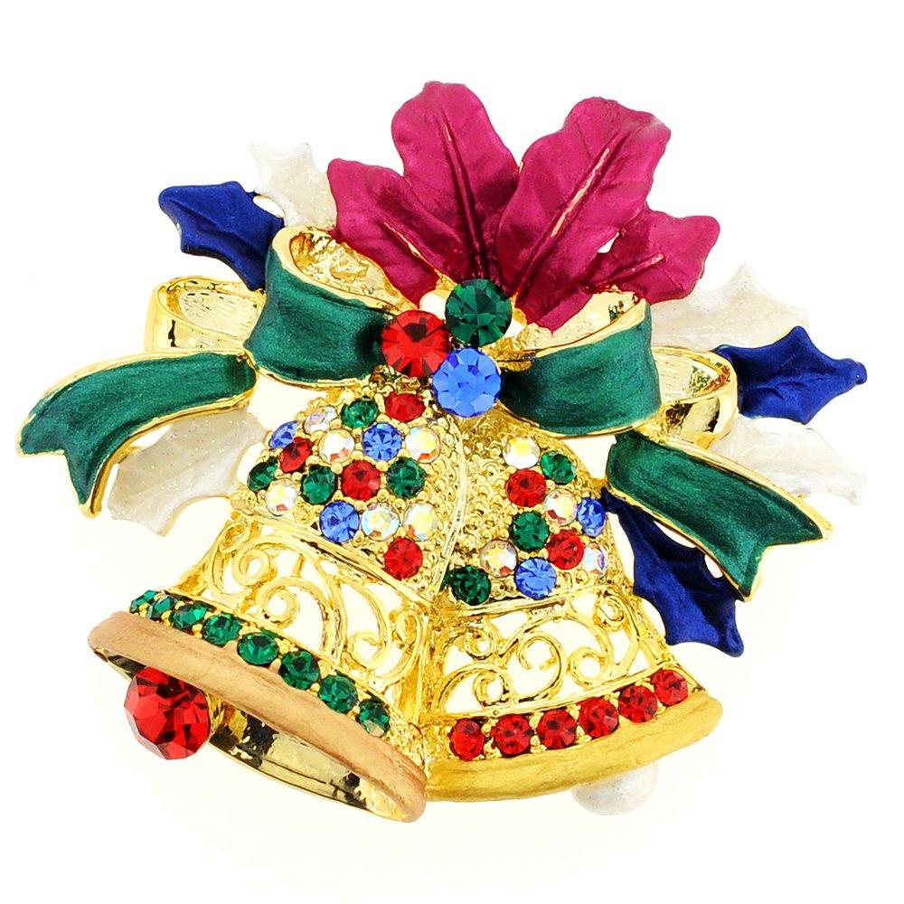 Fantasyard Christmas Bell Crystal Brooch Pin