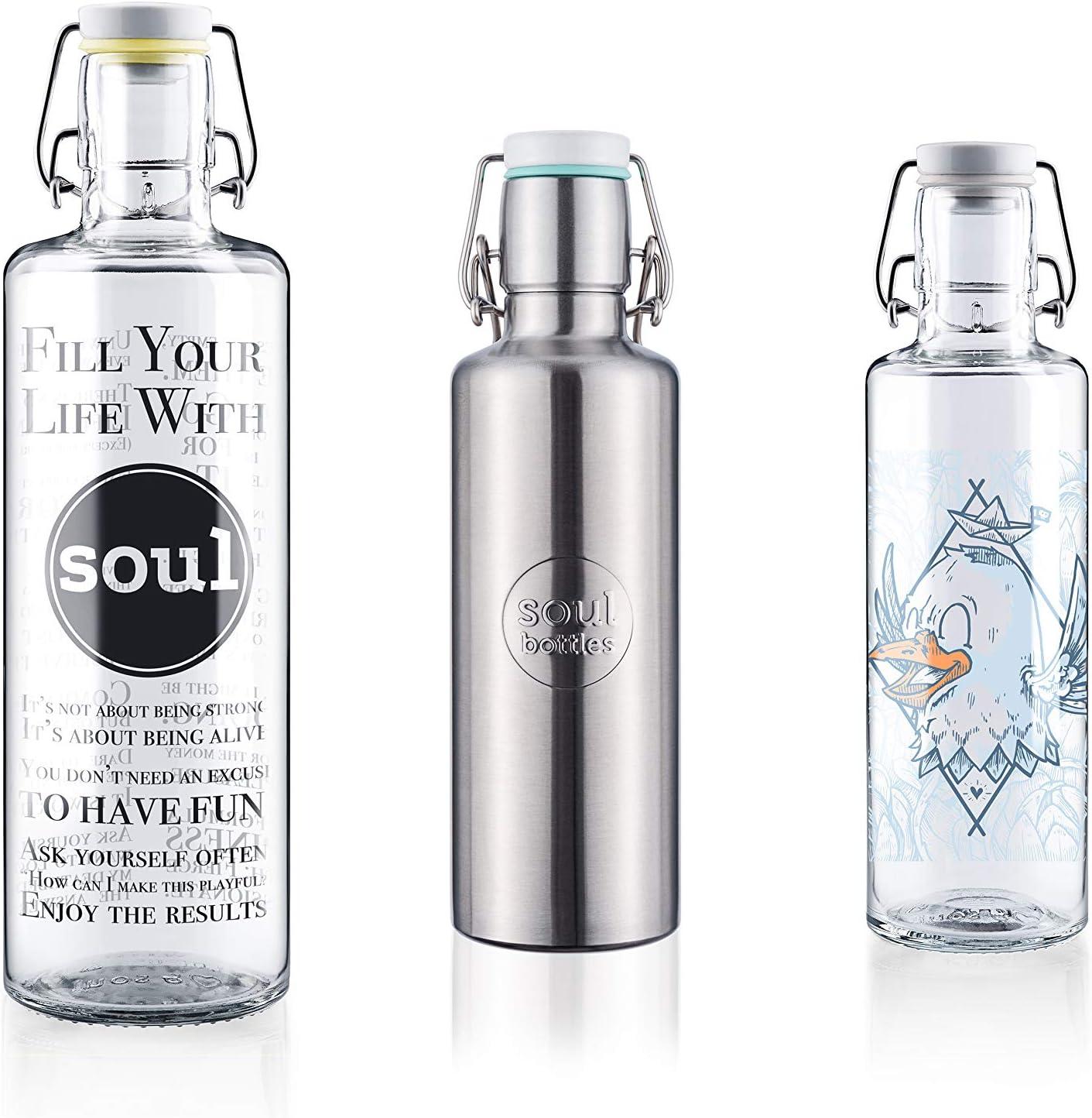 Soulbottles Familyset Fill Your Life with Soul Steel - Juego de botellas de cristal y acero inoxidable (1,0 L, 0,6 l, sin plástico)