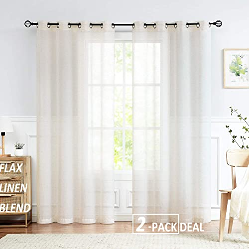 Fmfunctex Sheer Linen Curtain Draperies Flax Blend Sheer Draperies for Living Room 108 -Long Natural Cream White Window Sheers Grommet Top 2 Pack
