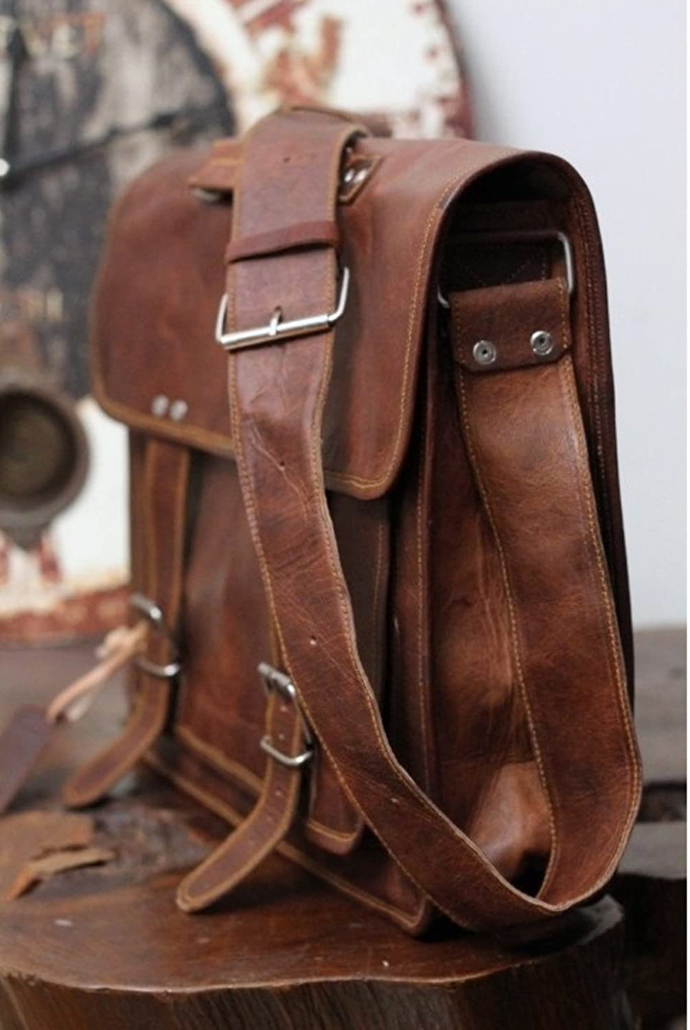 Right Choice 18 Large Leather Mens Messenger Bags Briefcase Laptop Cabin Satchel Office bag 18X13X6 Brown