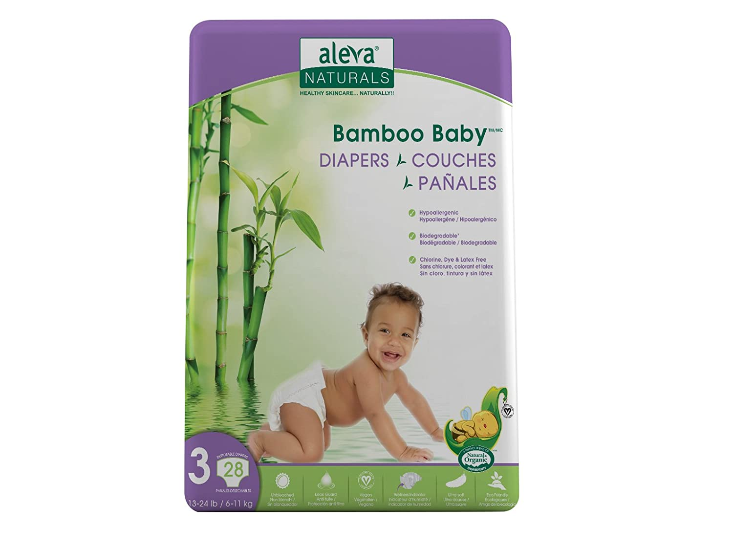 Size Newborn-1, Aleva Naturals Bamboo Baby Diapers Economy Pack 4-9 lbs // 2-4 kgs 192 Count