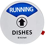 """Kichwit Clean Dirty Dishwasher Magnet with The 3rd Option""""Running"""", Perfect for Quiet Dishwashers, Non-Scratch Strong Magnet Backing & Residue Free Adhesive, 3.5"""" Diameter, Silver"""