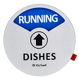 "Kichwit Clean Dirty Dishwasher Magnet with the 3rd Option ""Running"", Perfect for Quiet Dishwashers, Non-Scratch Strong Magnet Backing, Residue Free Adhesive Included, 3.5"" Diameter, Silver"