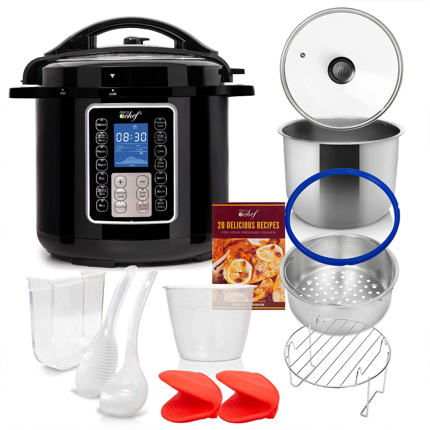 Deco Chef 6 QT 10-in-1 Pressure Cooker Instant Rice, Saut233, Slow Cook, Yogurt, Meats, Deserts, Soups, Stews Includes Recipe Book, Tempered Glass Lid, Mitts, Grill Rack, and Steaming Basket