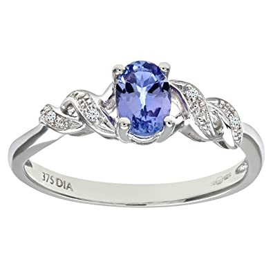 Naava Women's 9 ct White Gold Four Prong Set Round Brilliant Cut Tanzanite with Diamond Set Heart Shoulder Ring wOmTsVD