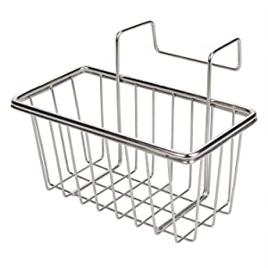 JIANYI Sink Caddy, Kitchen Sponge Holder, Sink Brush Soap Dishwashing Liquid Drainer Rack - Stainless Steel, Polished