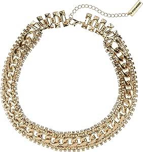 Steve Madden Women's Brass Rhinestone Chain-Link Necklace