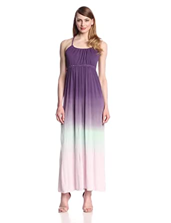 Gypsy 05 Women's Foundation Maxi Dress with Tie Back, Grape/Mint, X-Small
