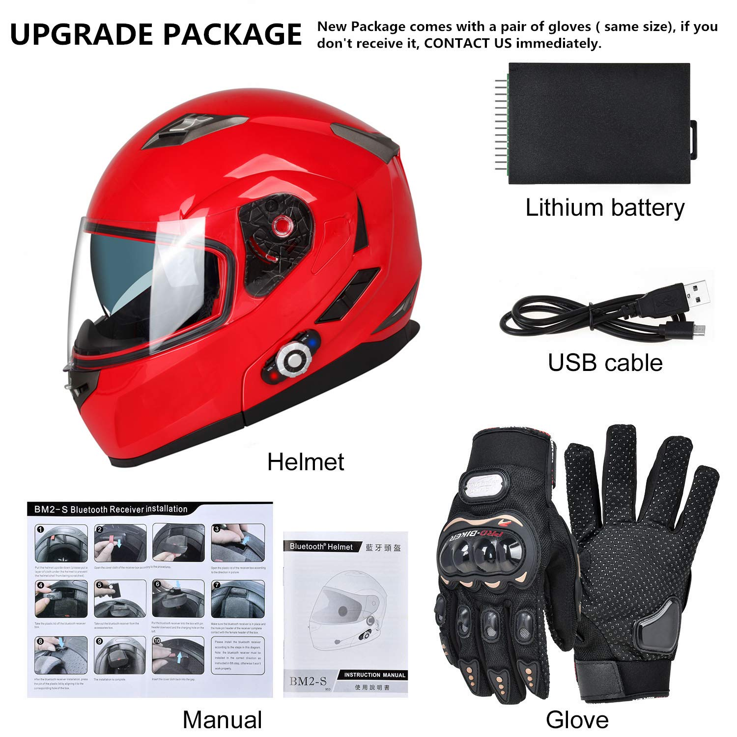 Motorcycle Bluetooth Helmets,FreedConn Flip up Dual Visors Full Face Helmet,Built-in Integrated Intercom Communication System(Range 500M,2-3Riders Pairing,FM radio,Waterproof,L,Red) by FreedConn (Image #8)