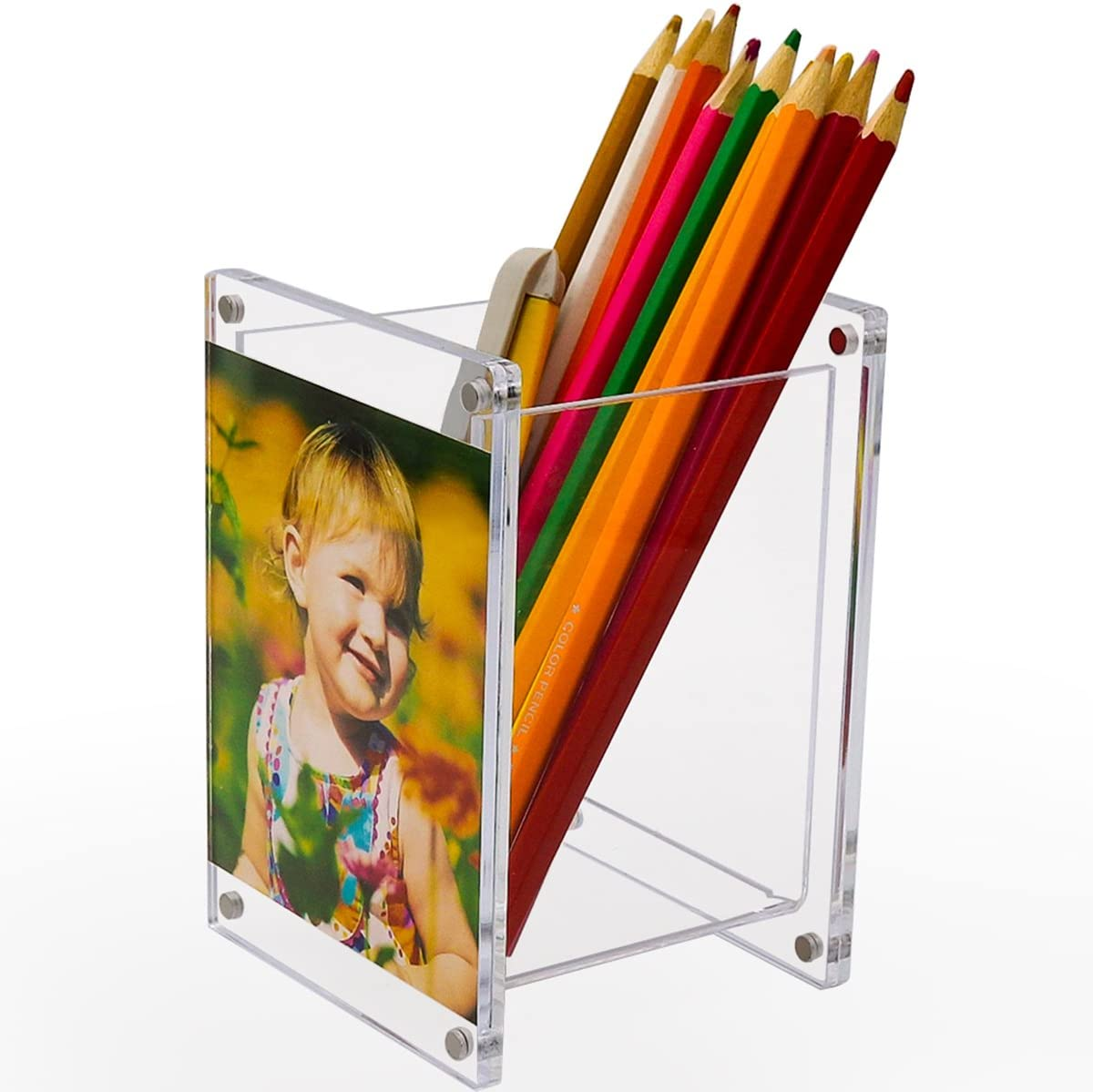 Clear Cute Pencil Cup Holder with two Magenetic Picture Frame for Home Office and Kids Acrylic Pen Holder