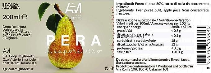 Agricola Miglioretti Zumo De Pera 200Ml 200 g: Amazon.es: Alimentación y bebidas