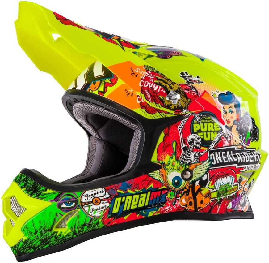 0623 O/'NEAL 3series MX Casque Crank Jaune Fluo Hi Viz de motocross Enduro Offroad Quad Cross 48