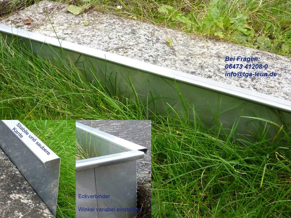 5er Sparset Stabile Rasenkanten Kiesleiste Beeteinfassung aus Edelstahl rostfrei inkl. 4 Verbinder (130mm)