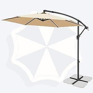FRUITEAM 10FT Offset Hanging Patio Umbrella, Outdoor Market Cantilever Umbrella Polyester Shade 95% UV Protection for Backyard, Poolside, Lawn and Garden w/Easy Tilt Adjustment