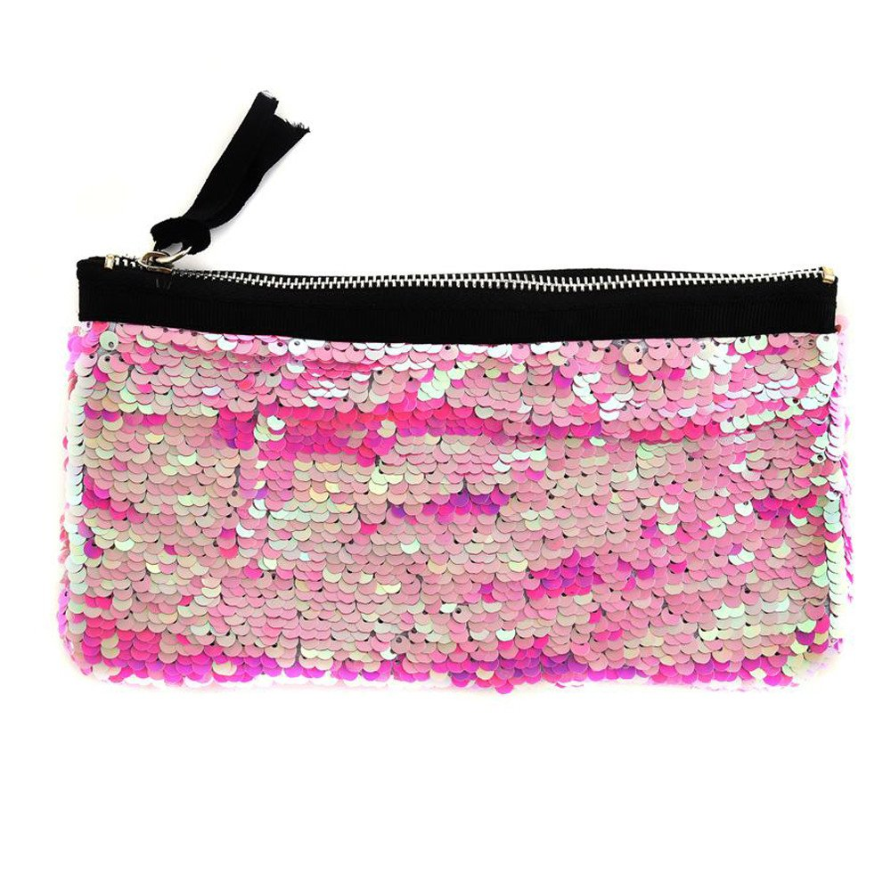 Clearance! Women Make-up Bag Double Color Sequins Coin Cards Holder Purse Wallet Pencil Pouch (E)