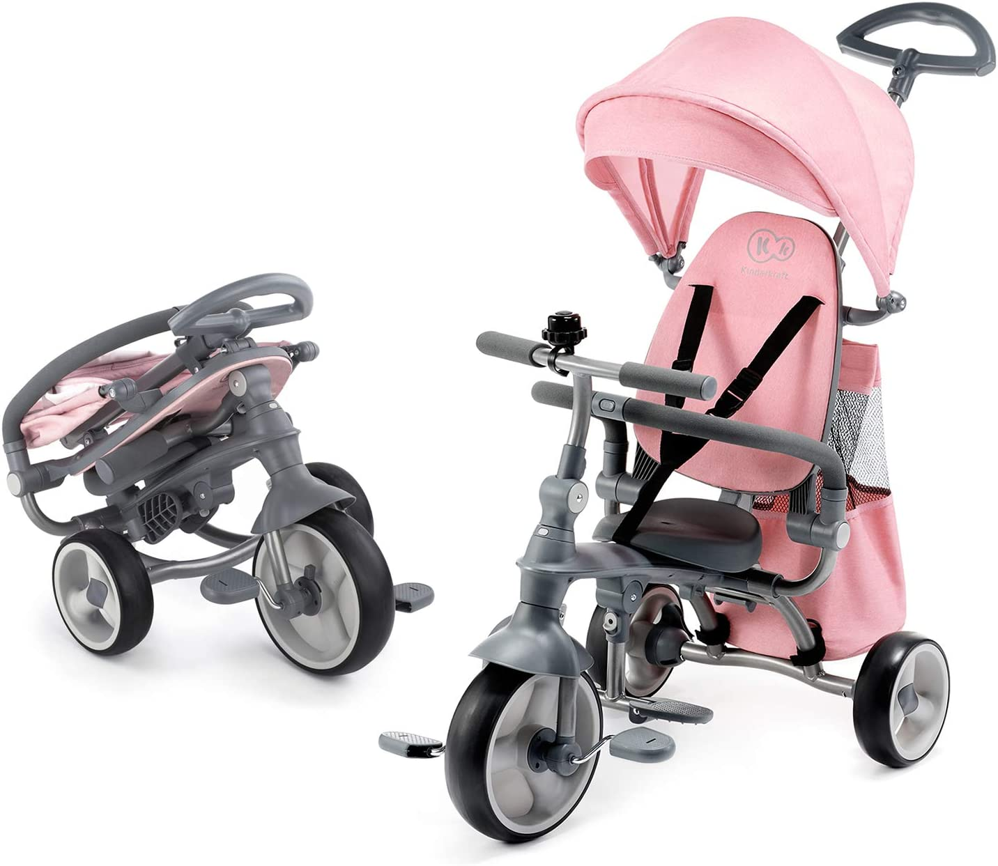 Kinderkraft Triciclos Bebés JAZZ, 4 en 1, Evolutivo, Plegable, Móvil, Rosa