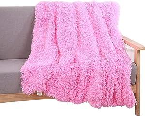 YOU SA Super Soft Long Shaggy Fuzzy Fur Faux Fur Warm Elegant Cozy with Fluffy Sherpa Throw Blanket 51''63'',Pink