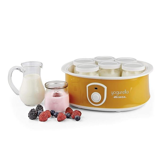 Ariete 617 - Yogurtera de 1.3 litros, 7 tarros de cristal con tapa, 20 W, color blanco y amarillo