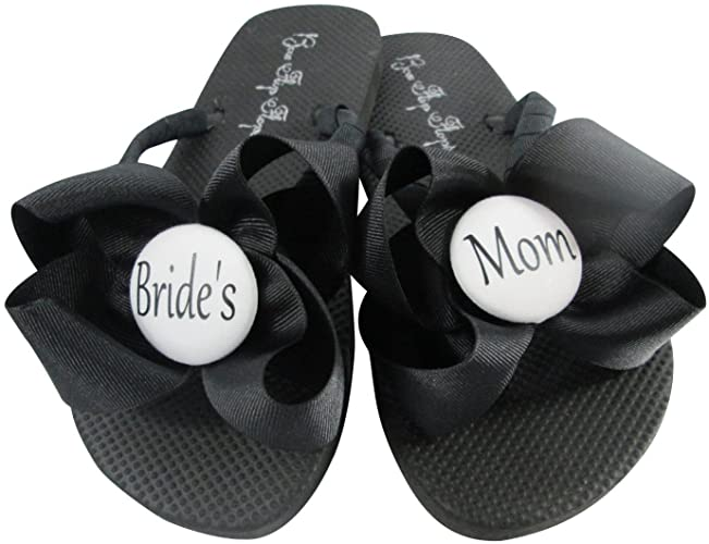 f0afe0746892c Amazon.com  Mother of the Bride Bow Flip Flops in White and Black  Handmade