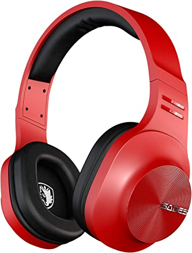 SADES D808 Bluetooth Headphone Over Ear, Wireless Headphones with mic for Music Cell Phone TV PC red Headphone